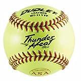11'' Spalding Thunder Heat WT11 .47 COR ASA Red Stitch Leather Yellow Softballs from Dudley - (One Dozen)