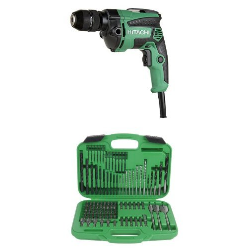 Hitachi D10VH2 7.0 Amp 3/8 inch Variable Speed Drill/Driver and 799962 Drill And Drive Bit Set, 120-Piece