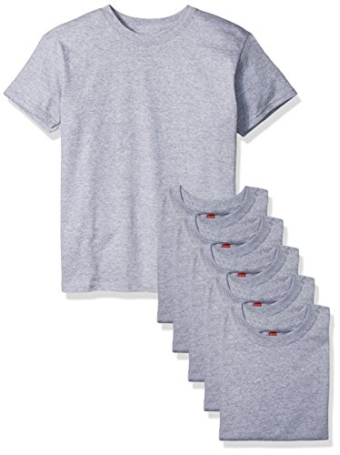 (Hanes Big Boys' Comfortsoft T-Shirt (Pack of 6), Light Steel, Small )
