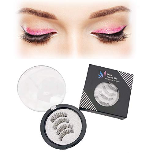 D&H BEAUTY SKY 2018 New Designed Magnetic Eyelashes   Reusable Ultra Soft Material   Beautiful Natural Look Eyelashes   1 pair/4Pcs (Style DHP) (Natural)