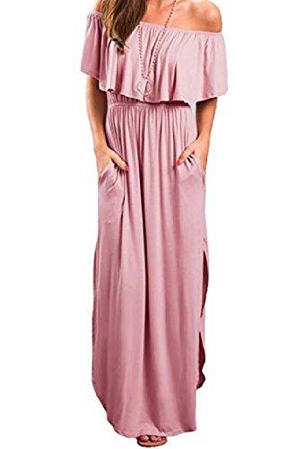 Coolred-femmes Épaule Mot Froissée Couleur Unie Divisée Robe Taille Rose Robe D'été