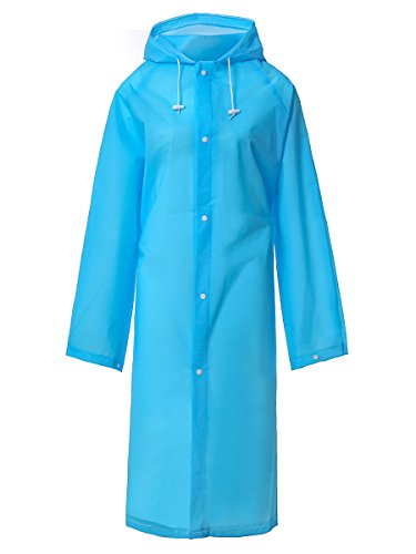 LINENLUX Waterproof Rain Poncho Coat with Bag Cover Blue Large by LINENLUX
