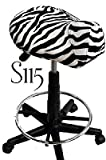 Zebra Saddle Stool with Foot Rest Ring