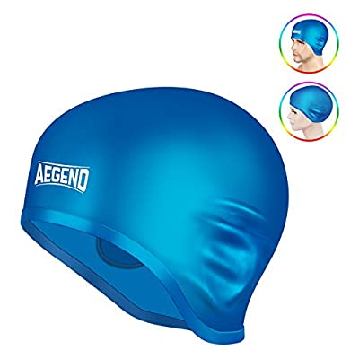 Aegend Waterproof Swim Cap for Adult Men Women Solid Silicone Swim Caps For Women Long Hair Men Short Hair With 3D Ergonomic Design Ear Pocket Keep Hair Dry Comfortable Swimming Cap Caps for Men Women