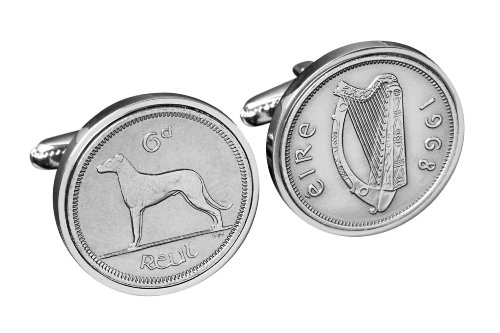 Lucky Irish Sixpence Cufflinks for Men- Handmade Genuine Ireland coin Cufflinks - 100% satisfaction by worldcoincufflinks