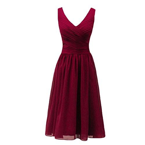 Bridal_Mall Mujer V-cuello de la madre de la marina de guerra verde vestido de dama borgoña