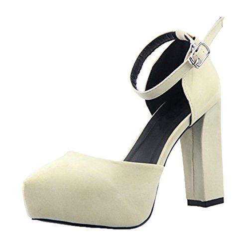 HooH Women's Sexy Velvet Platform Ankle Strap Chunky Sandals Dress Pump Beige ICd1i