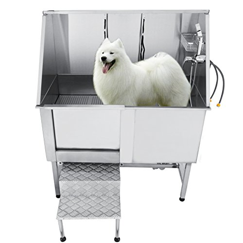 VEVOR 50 Inch Professional Stainless Steel Pet Grooming Tub Dog Bathtub Pet Dog Tub with Faucet...