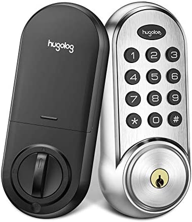 Hugolog Deadbolt Lock Electronic,Keypad Keyless Entry Door Lock Motorized Auto-Locking, Easy to Install High Security Material for Metal Home & Office