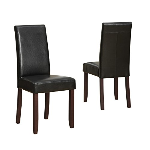 Simpli Home Acadian Parson Dining Chair, Midnight Black (Set of 2)