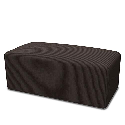 - Easy-Going Stretch Ottoman Slipcover Folding Storage Stool Furniture Protector Soft Rectangle slipcover with Elastic Bottom(Ottoman Oversize,Chocolate)