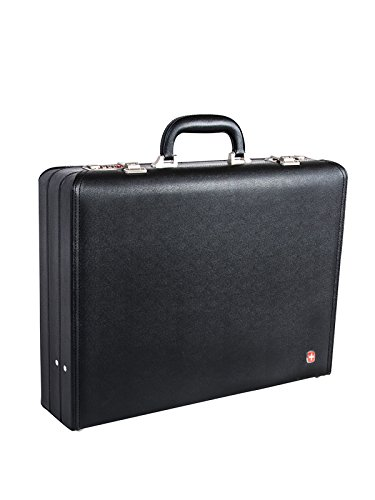 Swiss Gear 17.3-Inch Faux Leather Attache Case, Black, International Carry-on