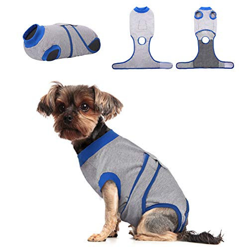 Kuoser Dog Recovery Suit for Male/Female, Cat Abdominal Wound/Skin Disease Anti-licking Protector, Puppy After Surgery…