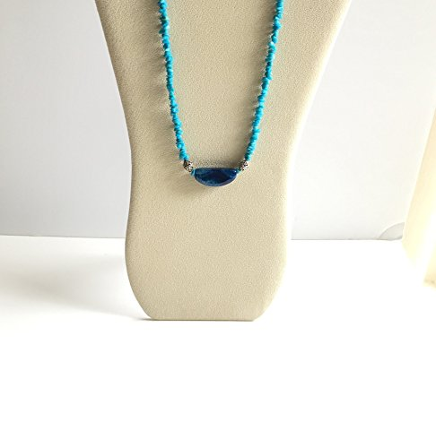 Electric Blue, Moon Agate, Aqua Blue Chain and Bali Silver Necklace. One of a (Moon Agate)