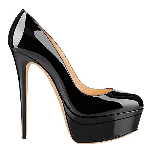 AOOAR Black Patent Heel High Double Women's Platform Pumps qWvrqgAU