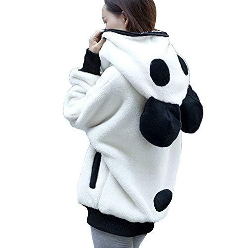 HIRIRI Cute Ear Panda Winter Warm Hoodie Coat Women Fluffy Warm Outerwear Tops Long Sleeve Hooded Jacket White Double Breasted Silk Coat