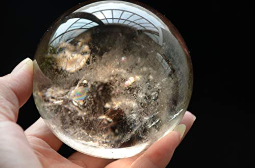 Real Tibet Himalayan High Altitude Clear Smoky Citrine Crystal Rainbow Quartz Ball Sphere Orb 3.34 Inch Spiritual Reiki Healing ()