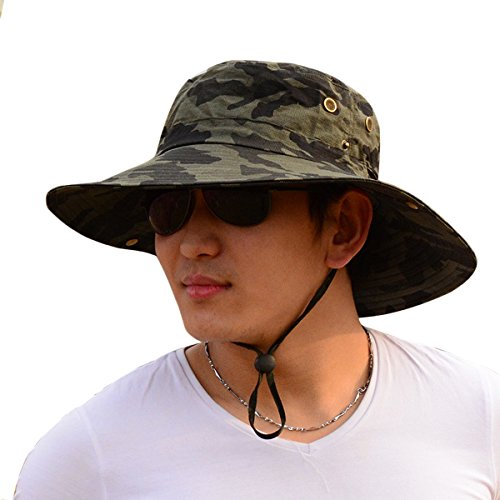 Men Camouflage Fishing Bucket Hat, Army Cowboy UPF 50+ Sun Protection Cap, Foldable Boonie Wide Brim Hiking Hat