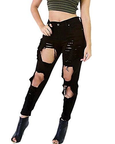 Skinny Denim Haute Collants Crayon Taille Jeggings Pantalons Jeans Dchirs Jeans Slim ZongSen Leggings Noir Femme wFx4qtS