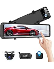【Upgrade 12''】 4K Mirror Dash Cam Front and Rear View Backup Camera IPS Full Touch Screen Waterproof 1080P Rearview Camera Enhanced Night Vision for Cars with Sony Sensor, GPS & 33ft Cable