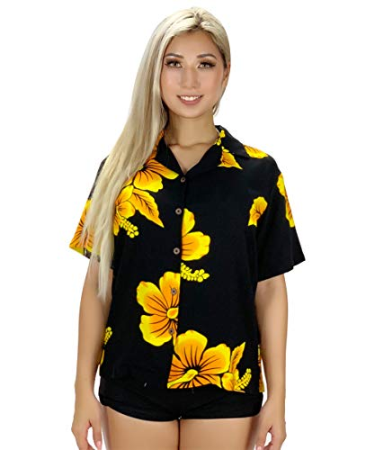 Tropical Luau Beach Hibiscus Floral Print Women's Hawaiian Aloha Shirt (Large, Hibiscus Black/Yellow)