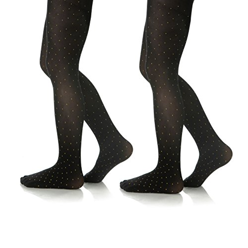 c09d29f75cbdf Silky Toes Microfiber Girls Opaque Footed Glitter Polka Dot Embellished  Tights (2 Pairs)