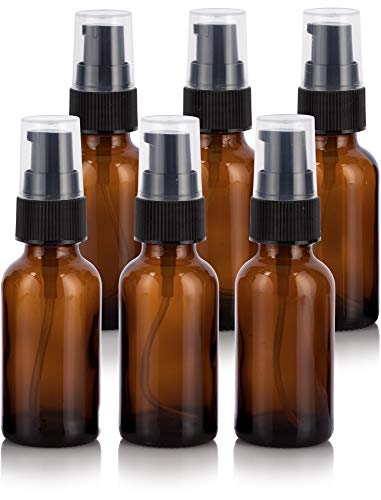 - 1 oz Amber Glass Boston Round Treatment Pump Bottle (6 Pack) + Funnel for Essential Oils, Aromatherapy, Food Grade, bpa Free