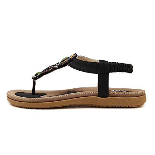 Cybling Fashion Slip Op Bohemian Flats Sandalen Voor Dames Beach Strap Schoenen Zwart