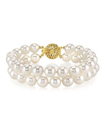 14K Or Blanc Double-Bracelet Femme-perle de culture d'eau douce de qualité AAA