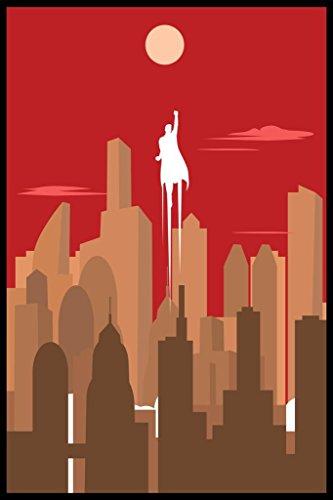 Superhero Silhouette Art Deco Skyline Retro Art Print Poster 24x36 inch -