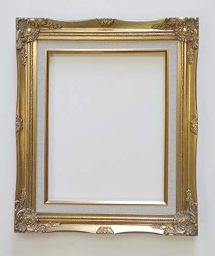 (TP Picture Frame Only-8x10 Old Gold Ornate, Antique-Style, Baroque Shabby Chic with Cream Linen Liner (8x10))