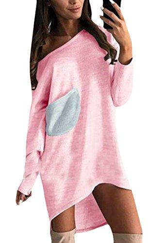 Jaycargogo Manches Longues Occasionnels Femmes Lâche T-shirt Robe Mini Robe Tunique Rose