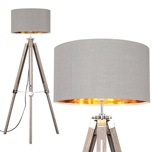 Modern Distressed Wood and Silver Chrome Tripod Floor Lamp with a Grey/Gold...