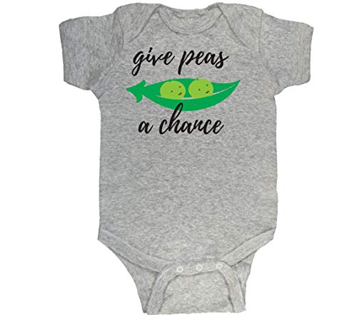 Adorable Baby Outfit, Give Peas A Chance, Gray 6-12 -
