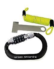 URBAN UR140 Helmslot Karabijnhaak Motorhelmhangslot Licht Multifunctionele met Veiligheidscode Combinatie Antidiefstalkit Slot + Flexibele Stalen Kabel + Helmadapter
