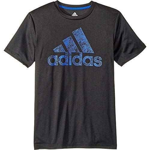 adidas Kids Boy's Short Sleeve Motivation Logo Tee (Big Kids) Black/Blue X-Large -