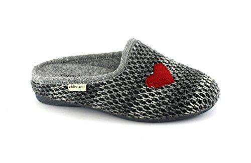 Grunland Adri CI2168 Gray Slippers Women Heart Knitwear Grigio audbef