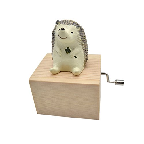 (Anlydia Mini Wooden Animal Hand Cranked Music Box Cute Ornament (Hedgehog))