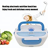 12 volt fry pan - Portable Multifunctional Electric Heated Car Plug Heating Lunch Box Rice Food Container Office Home Food Warmer 12V(Color:blue)