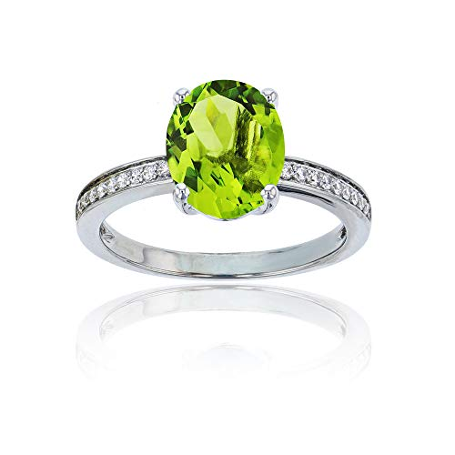 (10K White Gold 0.10 CTTW Round Diamond Channel Set & 10x8 Oval Peridot Engagement Ring)