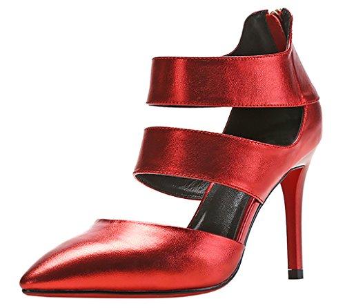Calaier Femmes Caactivity Open-toe 9 Cm Stiletto Fermeture À Glissière Sandales Chaussures Rouge
