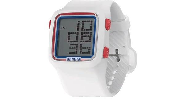 Converse Digital - Reloj (Reloj de Pulsera, Unisex, Silicona, Acero Inoxidable, Rojo, Blanco, Silicona, Blanco): Amazon.es: Relojes