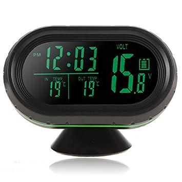 Multímetro digital para coche, de 12 V / 24 V, con pantalla LED, con termómetro + voltímetro + reloj + sistema de alerta de heladas: Amazon.es: Coche y moto