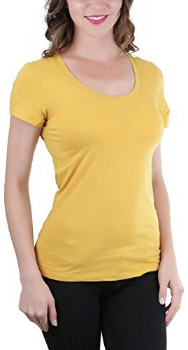 ToBeInStyle Women's Short Sleeve Scoop Neckline T-Shirt - Gold Mustard - (Mustard T-shirt Tee)