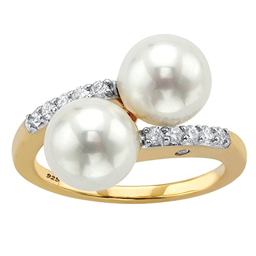18K Yellow Gold over Sterling Silver Simulated Pearl and Round Cubic Zirconia Bypass Ring Size 6