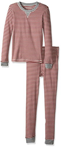 Candy Stripe (Burt's Bees Baby Big Kid 100% Organic Cotton 2-Piece Holiday Pajama Set, Cranberry Candy Cane Stripe, Small (6/7))