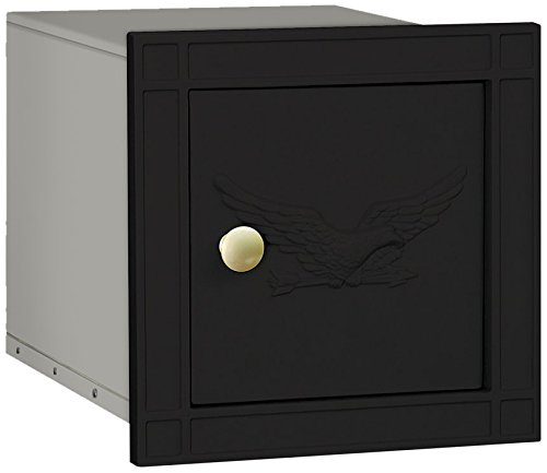 Blk Mailbox Wall (Salsbury Industries 4140E-BLK Cast Aluminum Column Non-Locking Eagle Door Mailbox, Black)