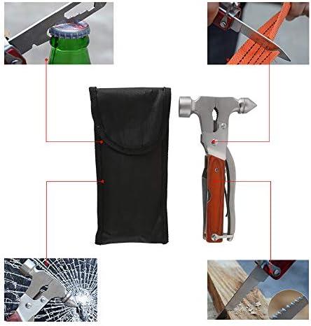 martillo port/átil para camping martillo de herramientas de acero inoxidable multiherramienta senderismo Martillo multifunci/ón 12 en 1 emergencias y actividades al aire libre,negro