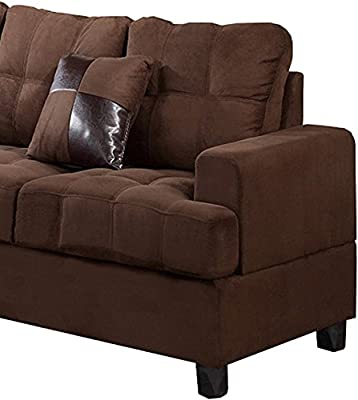 Poundex Bobkona Leo Microfabric 2-Piece Reversible Sectional Sofa