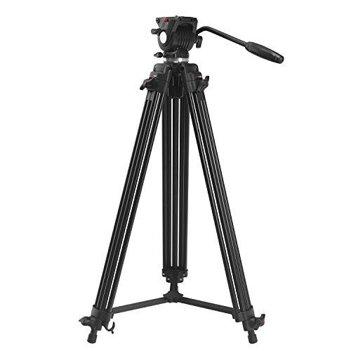 AXRTEC AXR-VT107 71'' Professional Video Camcorder Tripod with Fluid Drag Head and quick release plate (Max load 4KG) with Carrying Bag, Black by Axrtec